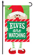 Elves Watching Applique Garden Flag