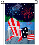 Patriotic Lake Applique Garden Flag