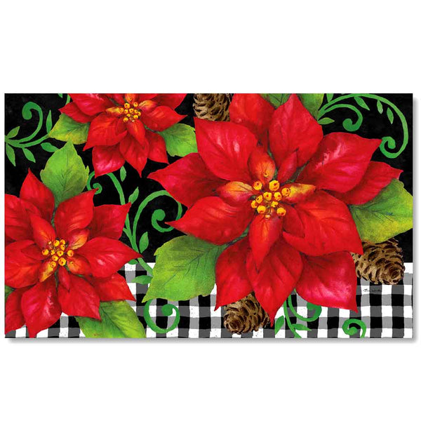 Poinsettia Check Door Mat