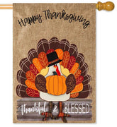 Thankful & Blessed Turkey Burlap House Flag