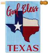 God Bless Texas Burlap House Flag