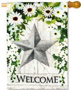 Galvanized Star Burlap House Flag