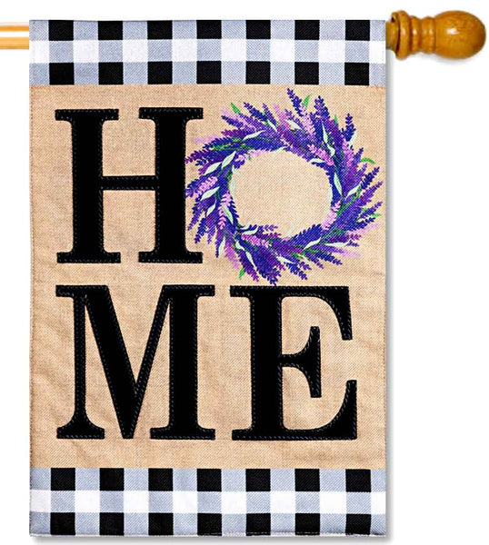 Home Lavender Burlap House Flag