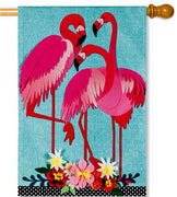 Flamingo Garden Linen House Flag