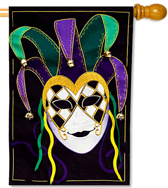 Jester Mask Linen House Flag