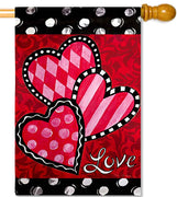 Bright Valentine's Hearts House Flag
