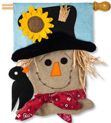 Scarecrow Season Burlap House Flag