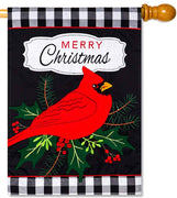 Merry Cardinal Applique House Flag