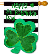St. Pat's Stripes Applique House Flag