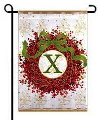 "Berry Wreath Monogram ""X"" Garden Flag"
