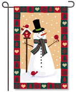 Snowman and Friends Burlap Garden Flag