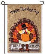Thankful & Blessed Turkey Burlap Garden Flag