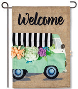 Flower Truck Welcome Burlap Garden Flag