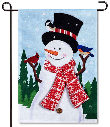 Snowman & Bird Friends Burlap Garden Flag