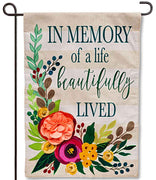 In Memory of a Life Burlap Garden Flag
