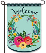Spring Welcome Wreath Burlap Garden Flag