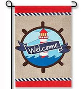Lighthouse Welcome Linen Garden Flag