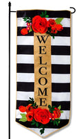 Floral Stripe Welcome Garden Banner