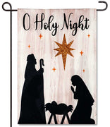 Nativity Silhouette Linen Garden Flag