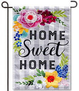 Home Sweet Plaid Linen Garden Flag