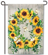 Sunflower Wreath Garden Flag