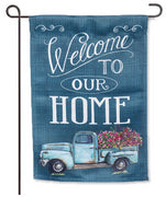 Floral Truck Welcome Garden Flag