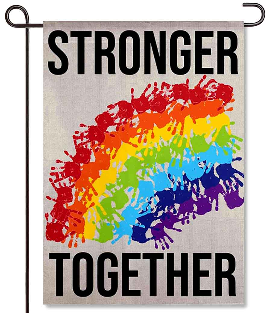 Stronger Together Handprints Garden Flag