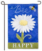 Bee Happy Daisy Garden Flag