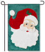 Jolly St. Nick Applique Garden Flag