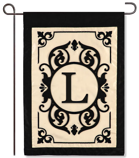 "Cambridge Monogram  ""L"" Applique Garden Flag"