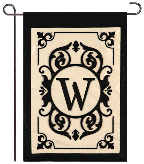 "Cambridge Monogram  ""W"" Applique Garden Flag"