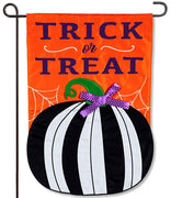 Stripe Pumpkin Applique Garden Flag