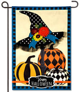 Witch Hat & Pumpkins Applique Garden Flag