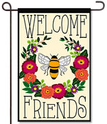 Bee Welcome Friends Applique Garden Flag