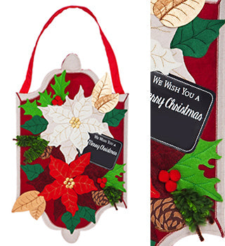 Holiday Poinsettias Burlap Door Hanger