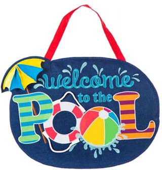Welcome to the Pool Burlap Door Hanger