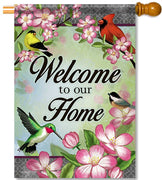 Floral Songbird House Flag