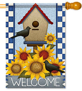 Sunflower Birdhouse House Flag