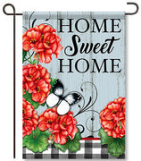 Buffalo Plaid Geraniums Garden Flag