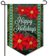 Holiday Poinsettia Applique Garden Flag