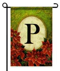 "Poinsettia Monogram ""P"" Garden Flag"