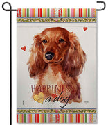 Long Hair Dachshund Garden Flag