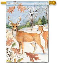 Winter Deer House Flag