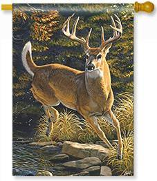 Whitetail Buck House Flag
