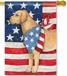 Patriotic Pup House Flag