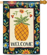 Floral Pineapple House Flag