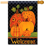 Patterned Pumpkins House Flag