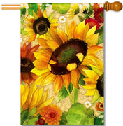 Yellow Fall Sunflower House Flag