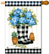 Black & White Wellies House Flag