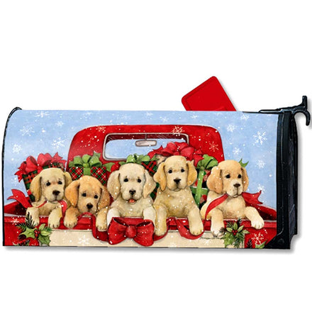 Bringing Home the Puppies Mailbox Cover